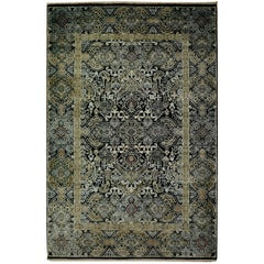 Kohinoor Hand-Knotted Wool and Silk Rug from India Black Gold Green