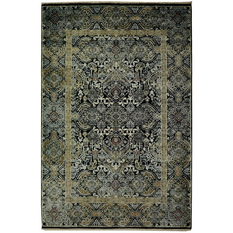 Kohinoor Hand-Knotted Wool and Silk Rug from India 1