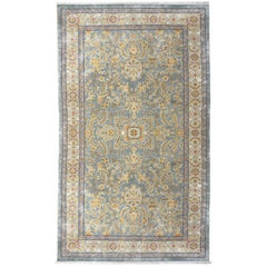 Samarkand Khotan Silk Rug Semi Antique Chinese Carpet Light Blue East Turkestan