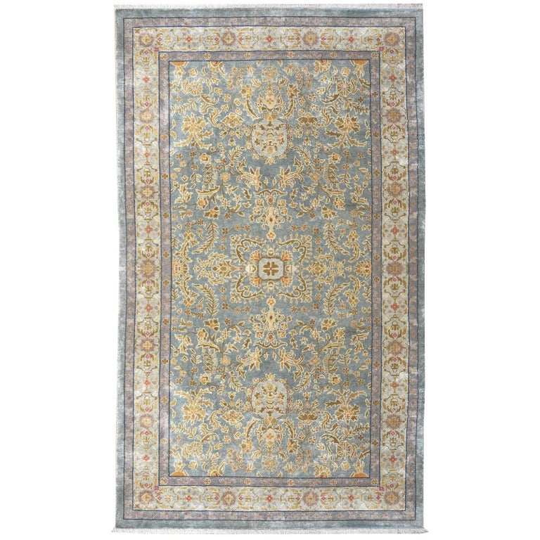 Samarkand Khotan Silk Rug Semi Antique Chinese Carpet Light Blue East Turkestan For Sale
