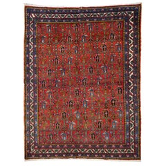 Vintage Tribal Carpet Red and Blue, Mid-20th Century