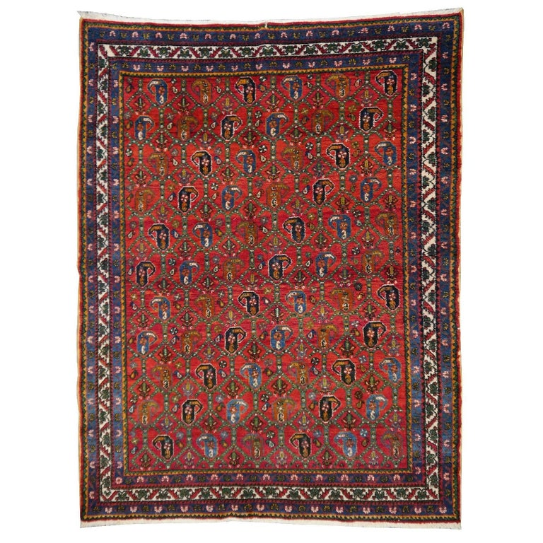 Persian Rug Afshari Vintage Tribal Carpet Red and Blue, Mid-20th Century For Sale