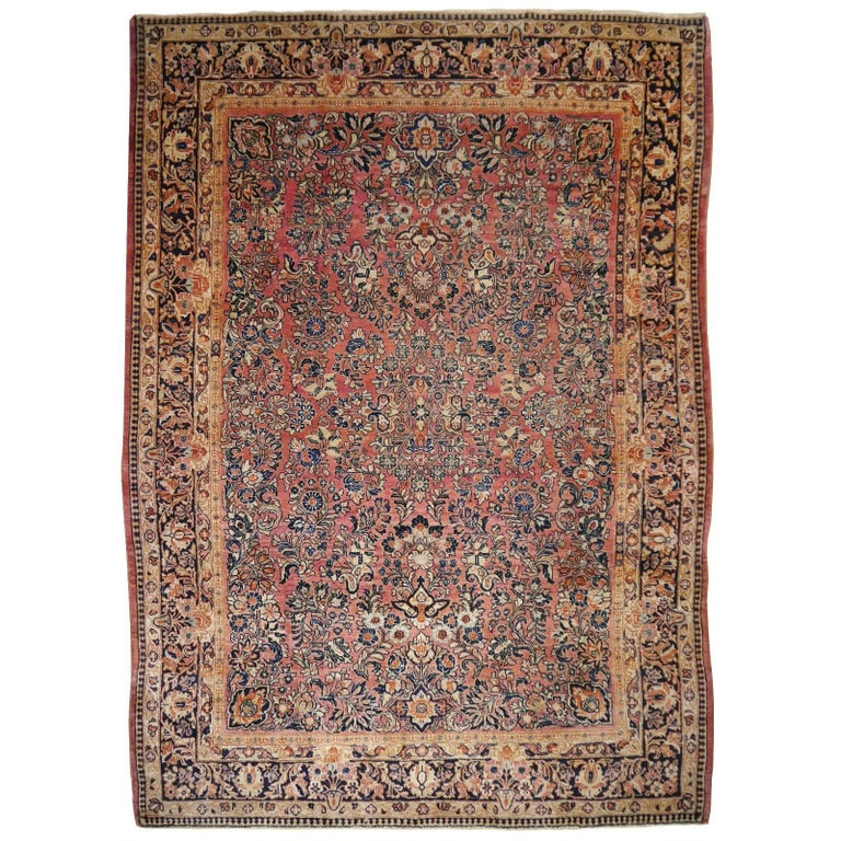 Antique Rug Early 20th Century Classic  Carpet For Sale