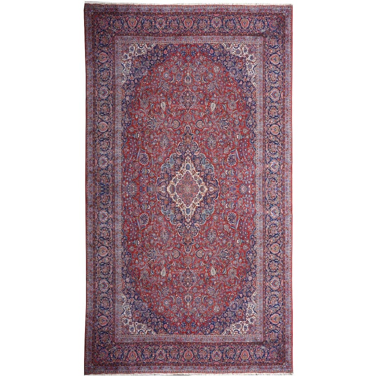 Persian Rug Kashan Oversize Brown Blue Beige Hand-Knotted Semi Antique Carpet