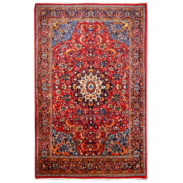 Vintage Hand-Knotted Oriental Rug Red and Blue