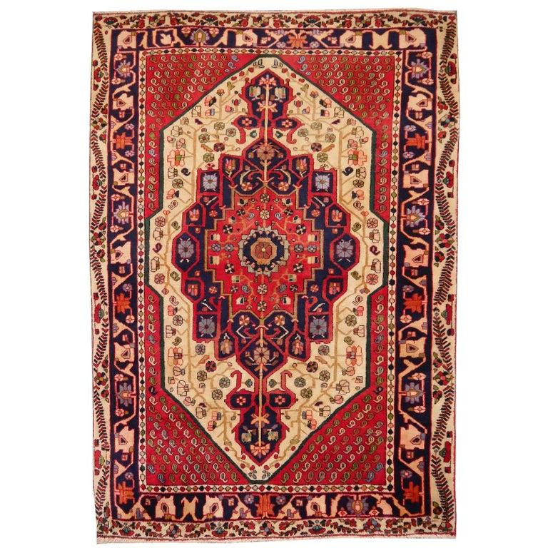Vintage tribal oriental rug Beige Red Blue Midcentury