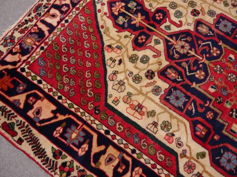 Persian Vintage tribal oriental rug Beige Red Blue Midcentury For Sale