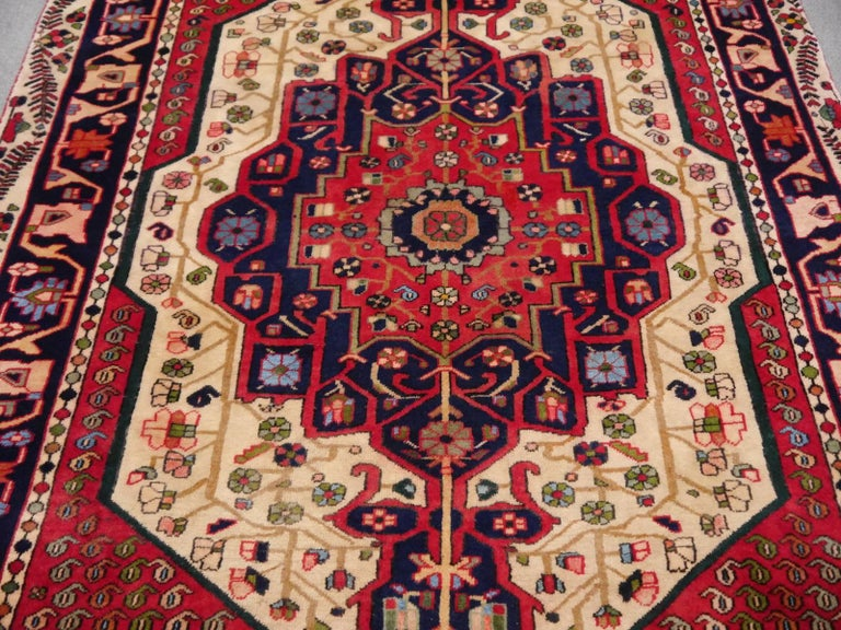 Hand-Knotted Vintage tribal oriental rug Beige Red Blue Midcentury For Sale