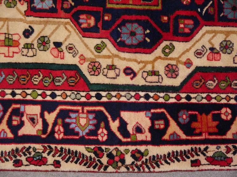 Mid-20th Century Vintage tribal oriental rug Beige Red Blue Midcentury For Sale