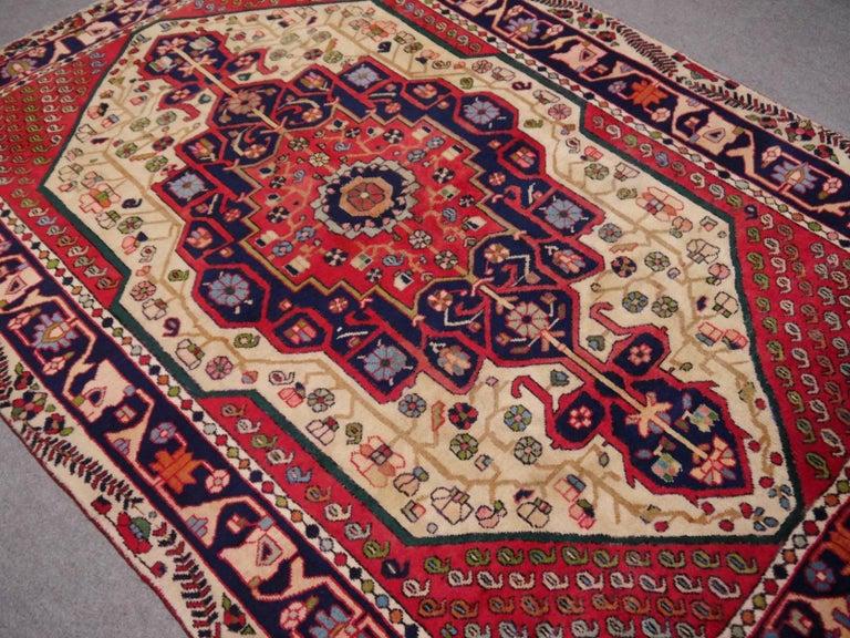 Wool Vintage tribal oriental rug Beige Red Blue Midcentury For Sale