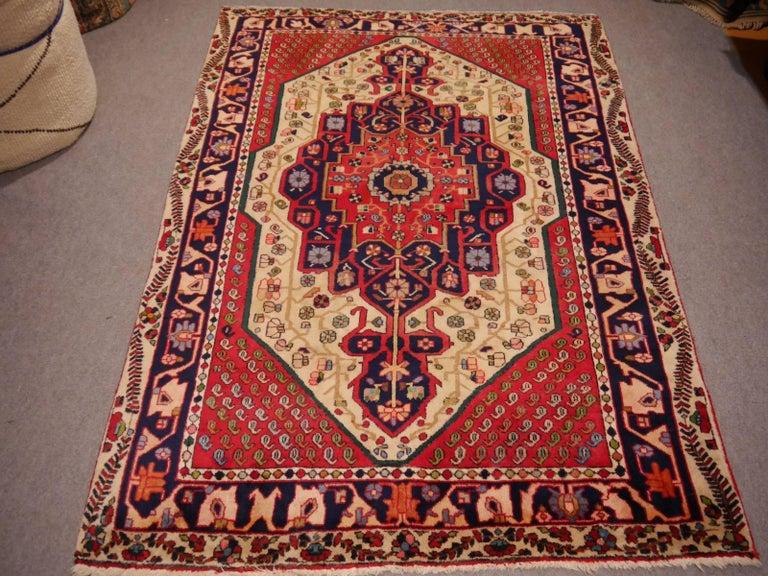 Vintage tribal oriental rug Beige Red Blue Midcentury For Sale 1