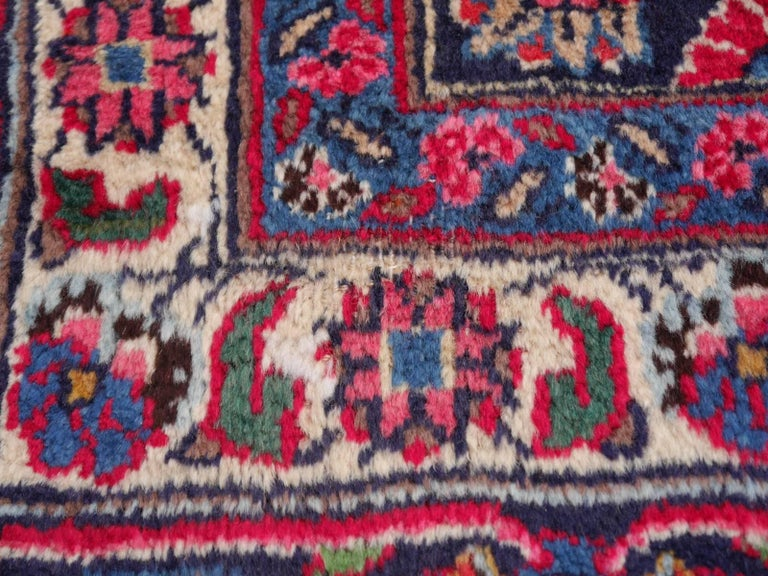 Hand-Knotted Vintage Dark Red Midcentury Mashad Rug For Sale