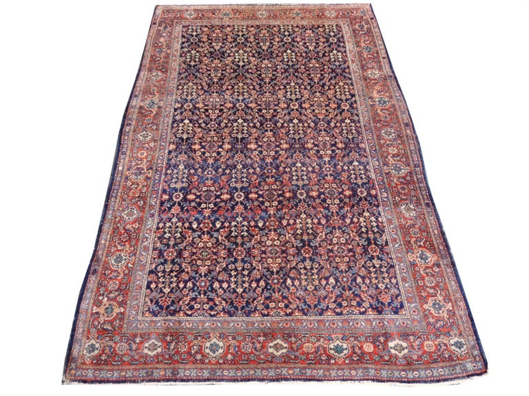 Malayer Antique Rug Early 20th Century Classic Carpet Blue and Rust For Sale