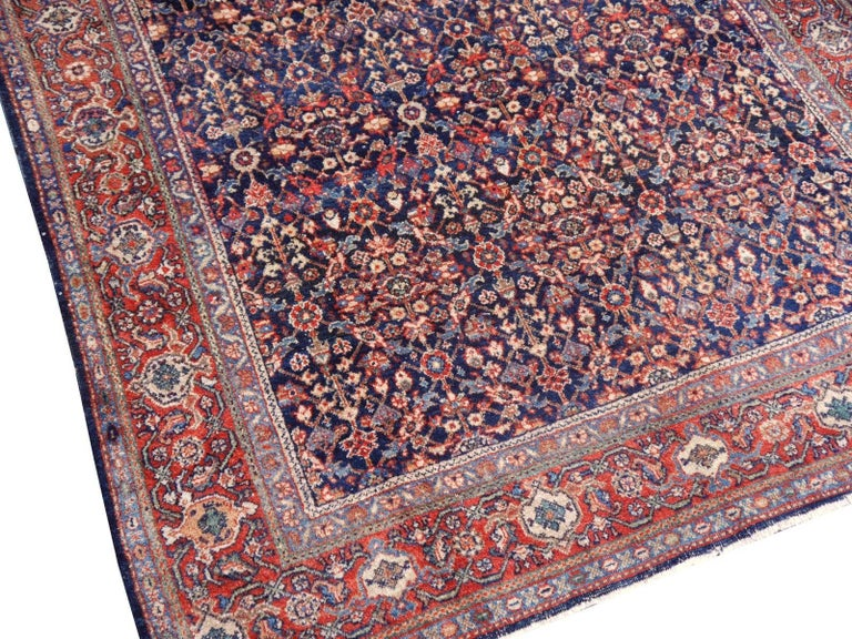 Azerbaijani Antique Rug Early 20th Century Classic Carpet Blue and Rust For Sale
