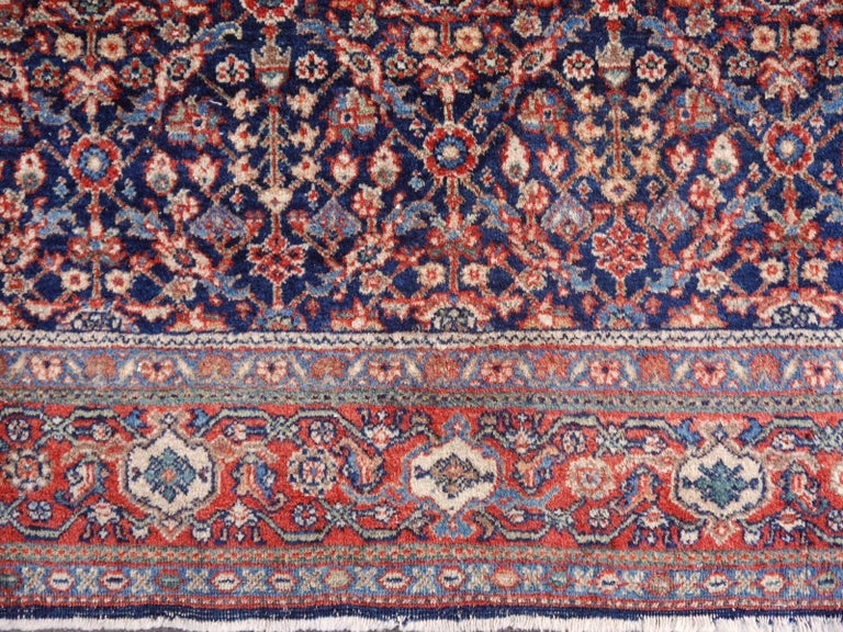 Hand-Knotted Antique Rug Early 20th Century Classic Carpet Blue and Rust For Sale