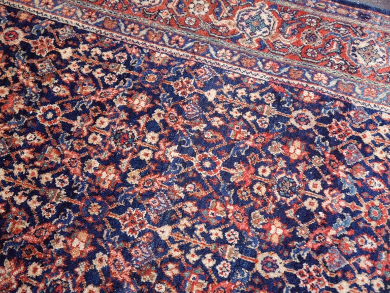 Antique Rug Early 20th Century Classic Carpet Blue and Rust In Good Condition For Sale In Lohr, Bavaria, DE