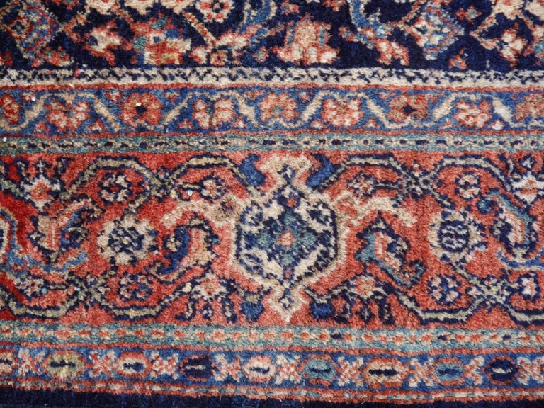 Wool Antique Rug Early 20th Century Classic Carpet Blue and Rust For Sale