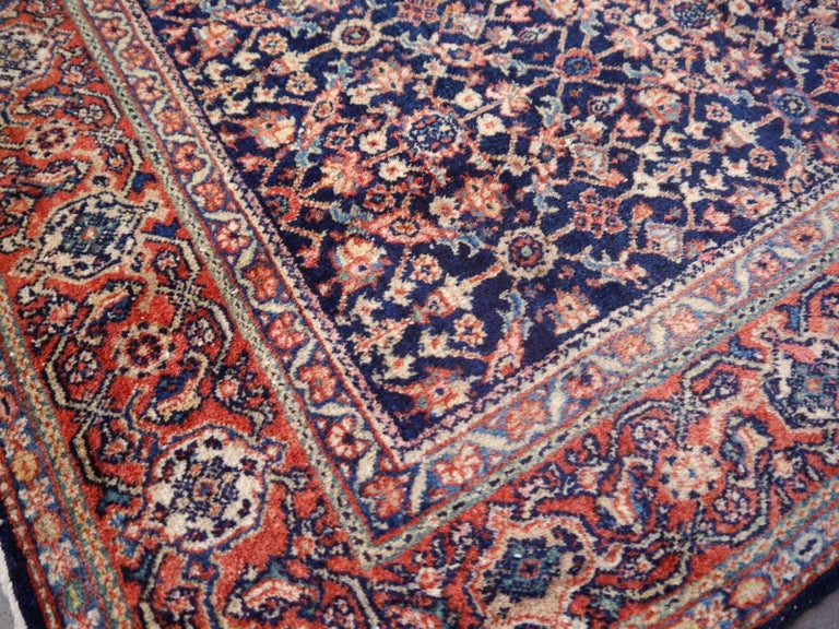 Antique Rug Early 20th Century Classic Carpet Blue and Rust For Sale 1
