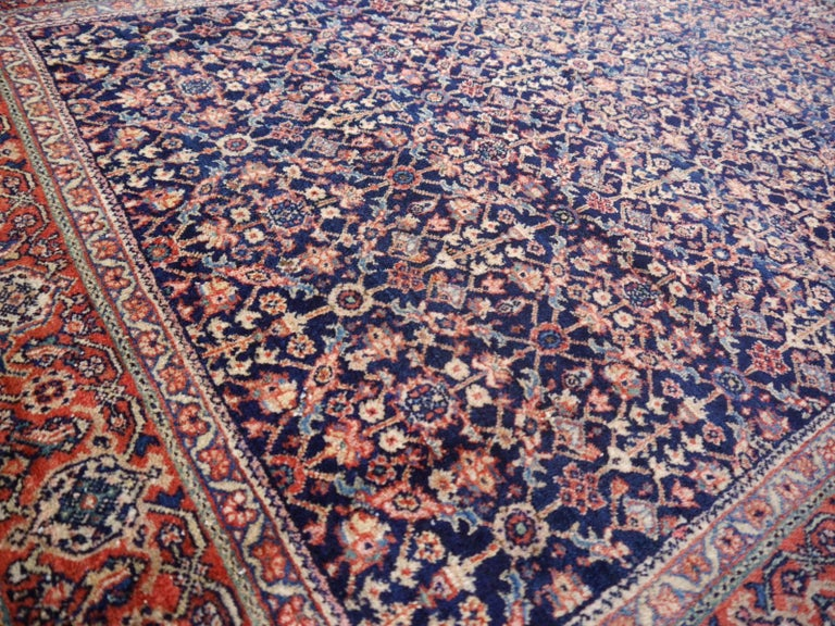 Antique Rug Early 20th Century Classic Carpet Blue and Rust For Sale 2