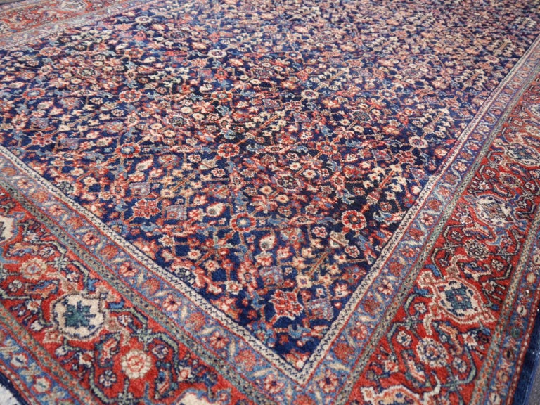 Antique Rug Early 20th Century Classic Carpet Blue and Rust For Sale 3