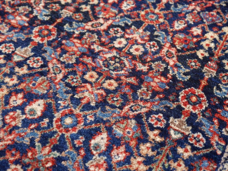 Antique Rug Early 20th Century Classic Carpet Blue and Rust For Sale 4