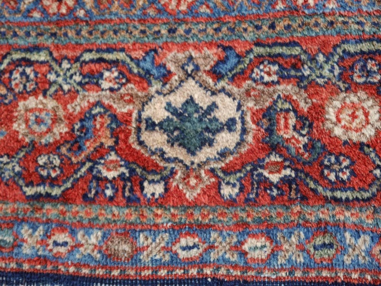 Antique Rug Early 20th Century Classic Carpet Blue and Rust For Sale 5