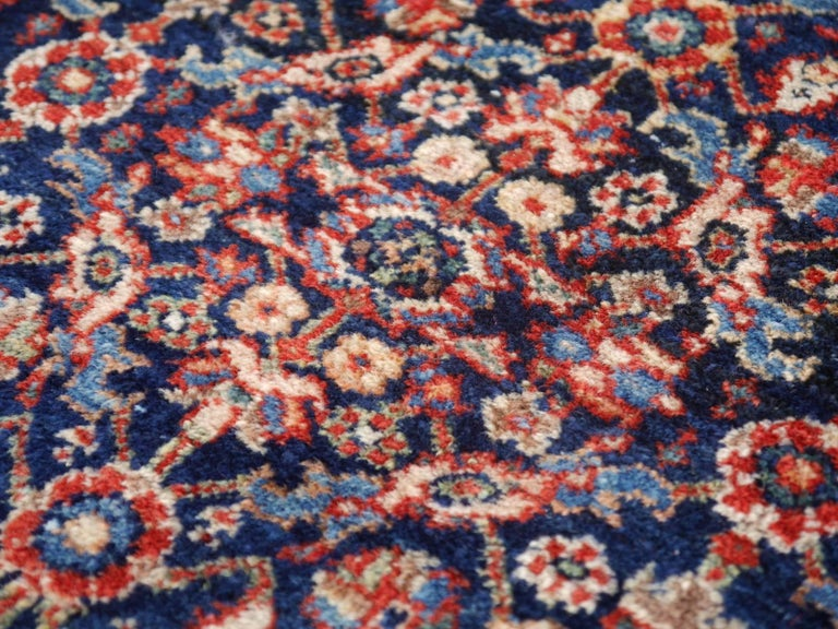 Antique Rug Early 20th Century Classic Carpet Blue and Rust For Sale 6