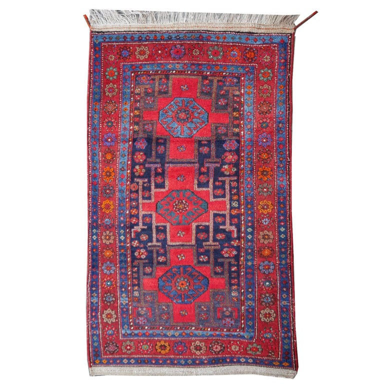 Shirvan Caucasian Vintage Carpet with Vibrant Colors Red Blue Orange Green For Sale