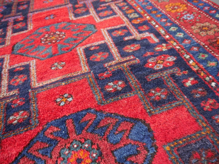 Beautiful semi antique Shirvan vintage Caucasian rug Azerbeijan carpet red blue green orange green