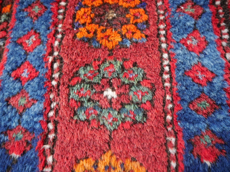 20th Century Shirvan Caucasian Vintage Carpet with Vibrant Colors Red Blue Orange Green For Sale