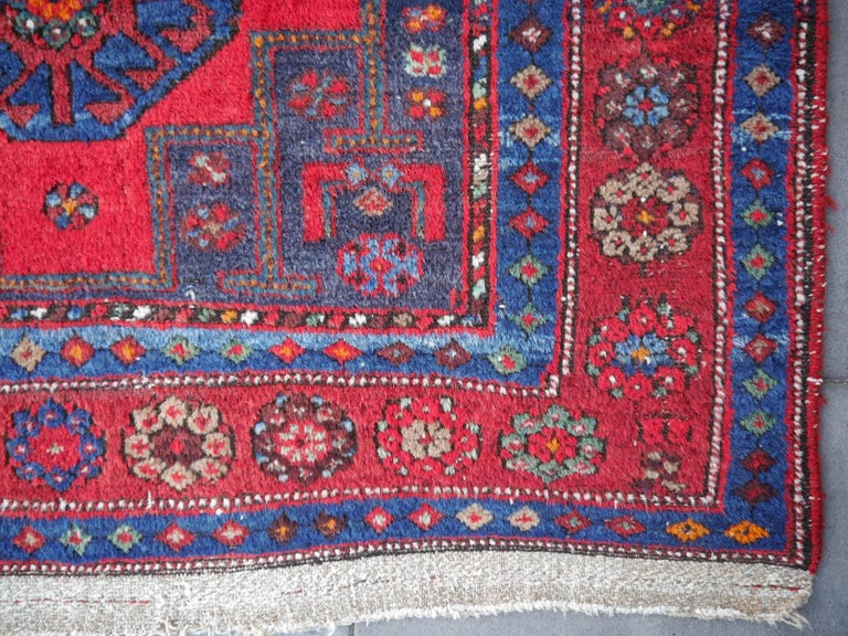 Wool Shirvan Caucasian Vintage Carpet with Vibrant Colors Red Blue Orange Green For Sale
