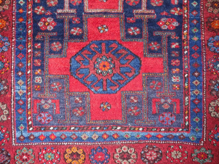 Shirvan Caucasian Vintage Carpet with Vibrant Colors Red Blue Orange Green For Sale 1