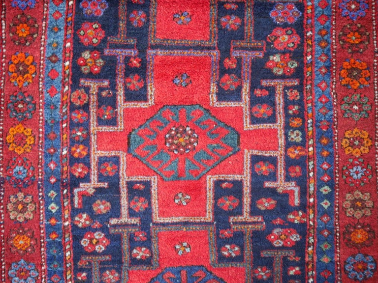 Shirvan Caucasian Vintage Carpet with Vibrant Colors Red Blue Orange Green For Sale 2