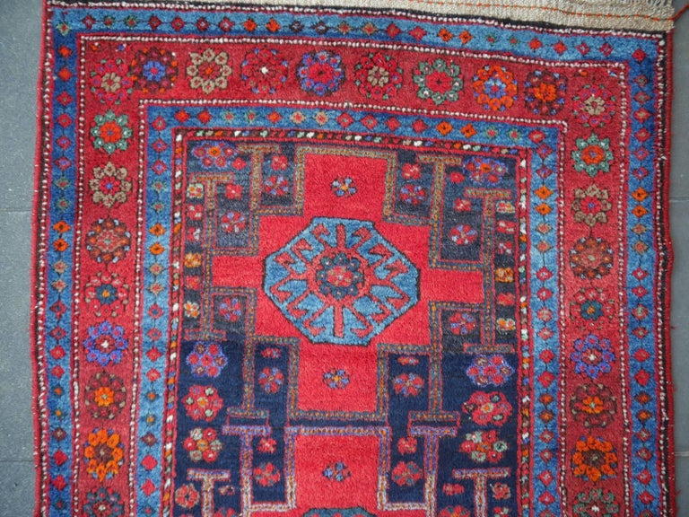 Shirvan Caucasian Vintage Carpet with Vibrant Colors Red Blue Orange Green For Sale 3