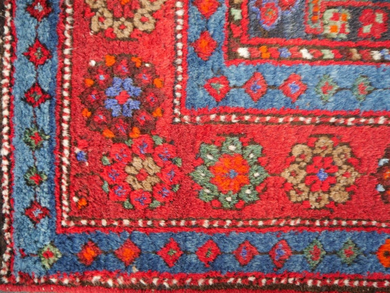 Shirvan Caucasian Vintage Carpet with Vibrant Colors Red Blue Orange Green For Sale 4