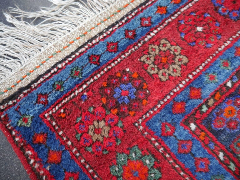 Shirvan Caucasian Vintage Carpet with Vibrant Colors Red Blue Orange Green For Sale 5