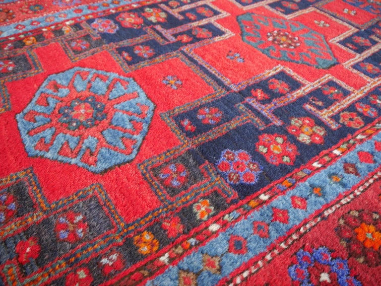 Shirvan Caucasian Vintage Carpet with Vibrant Colors Red Blue Orange Green For Sale 6