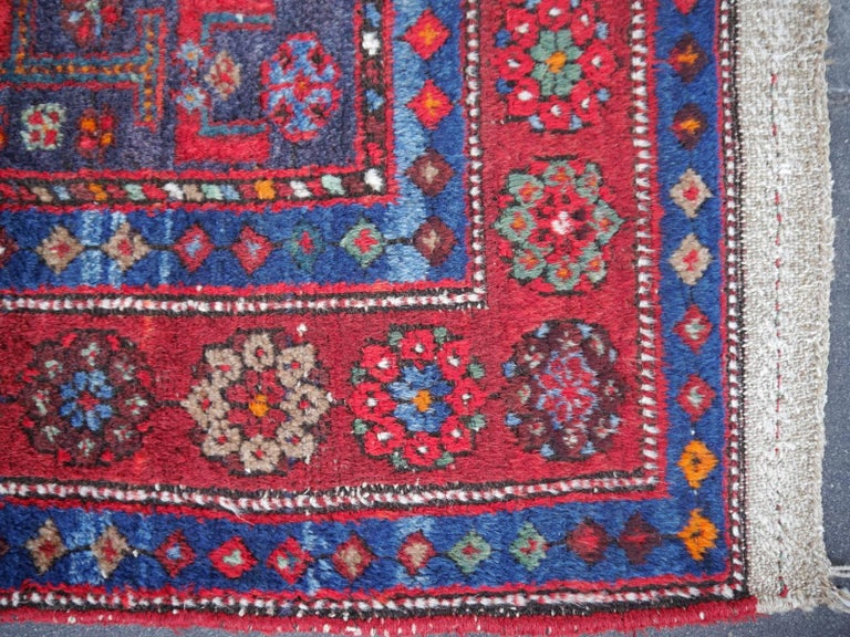 Shirvan Caucasian Vintage Carpet with Vibrant Colors Red Blue Orange Green For Sale 7