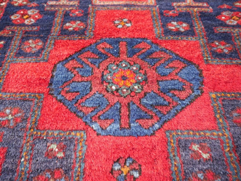 Shirvan Caucasian Vintage Carpet with Vibrant Colors Red Blue Orange Green For Sale 8