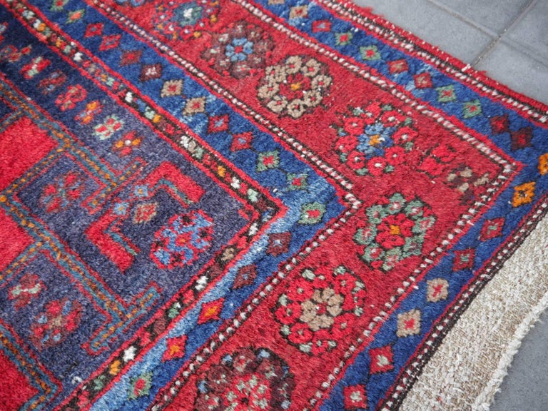 Shirvan Caucasian Vintage Carpet with Vibrant Colors Red Blue Orange Green For Sale 9