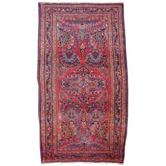 Antique Rug Early 20th Century Lilihan Classic Carpet Red and Blue