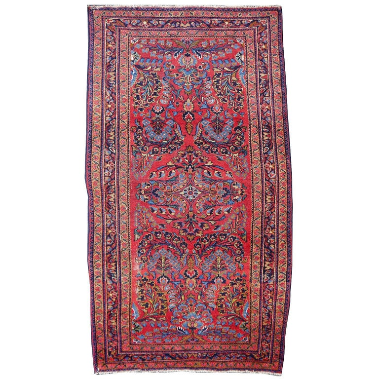 Antique Rug Early 20th Century Lilihan Classic Carpet Red and Blue For Sale