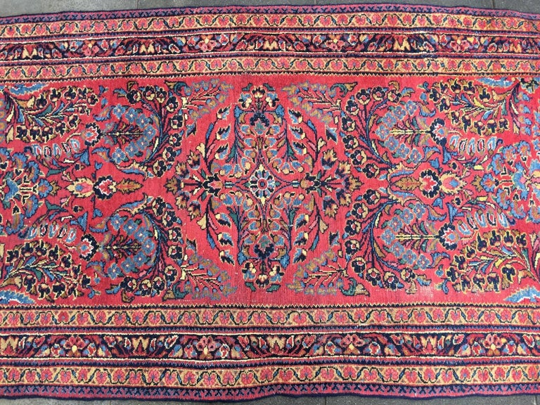 Sarouk Farahan Antique Rug Early 20th Century Lilihan Classic Carpet Red and Blue For Sale
