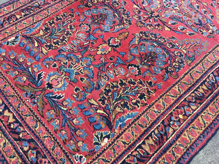 Persian Antique Rug Early 20th Century Lilihan Classic Carpet Red and Blue For Sale