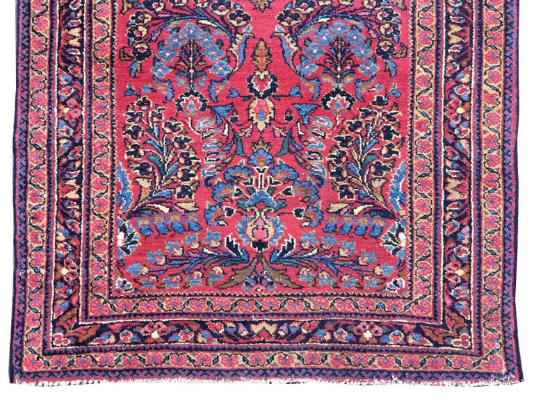 Hand-Knotted Antique Rug Early 20th Century Lilihan Classic Carpet Red and Blue For Sale