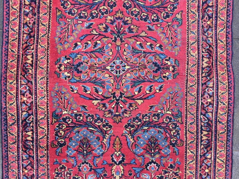 Wool Antique Rug Early 20th Century Lilihan Classic Carpet Red and Blue For Sale