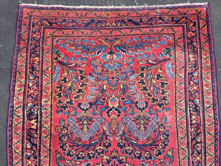 Antique Rug Early 20th Century Lilihan Classic Carpet Red and Blue For Sale 1