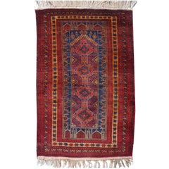 Vintage Balouch Tribal Prayer Rug Blue and Rust Color