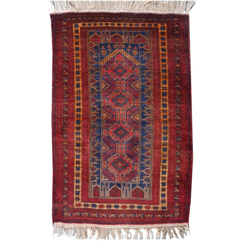 Vintage Balouch Tribal Prayer Rug Blue and Rust Color For Sale