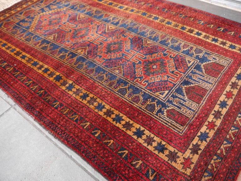 Hand-Knotted Vintage Balouch Tribal Prayer Rug Blue and Rust Color For Sale